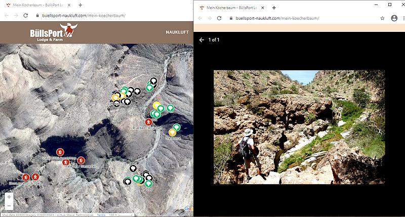 Vom Wohnzimmer aus die Welt der Köcherbäume und Berg-Zebras in den Naukluft-Bergen auf BüllsPort besuchen und schützen: Satelliten-Karte auf der Seite zur Initiative