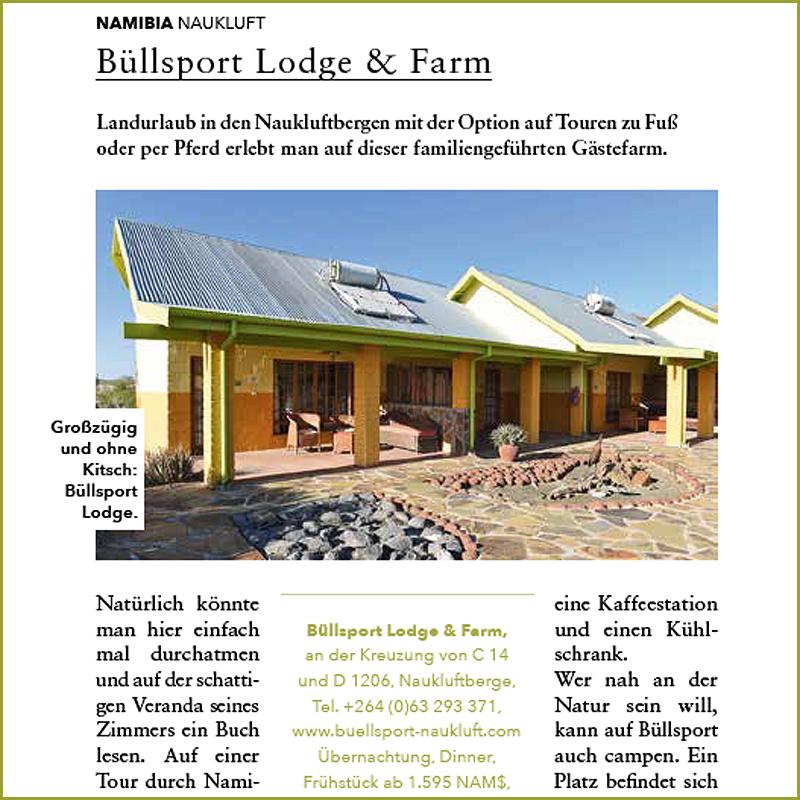 BüllsPort Accommodation Süd-Afrika Magazine